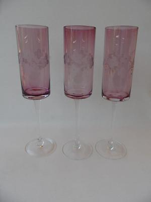3 vintage amethyst and etched pattern with clear stems champagne flutes glasses