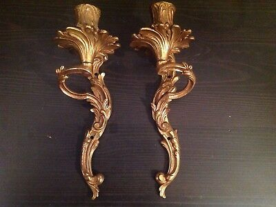 Antique Pair Of French Rococo Style Double Arm Ornate Brass Wall Lights Sconces