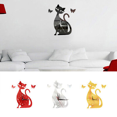 Sitting Cat Butterfly Wall Mirror Clock Silent Quartz Removable Sticker Alluring