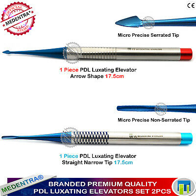 2Pcs Dental Implant PDL Root Luxating Elevators Precise Arrow Shape+Narrow Tips