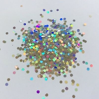 3g CHUNKY 2mm HOLOGRAPHIC SILVER LARGE HEXAGON SEQUIN FESTIVAL GLITTER