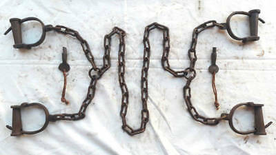 *old Vintage Antique Handcrafted Iron Long Chain 4 Lock Handcuffs, Collectible*