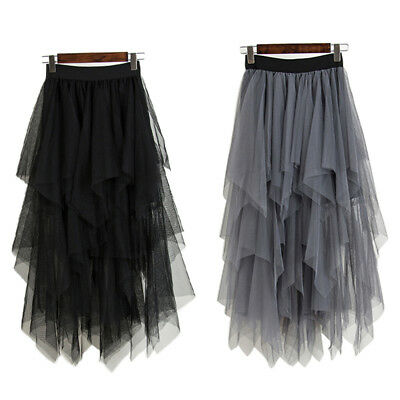 Fashion High Waist Long Tulle Skirt Women Irregular Hem Mesh Tutu Skirt FreeSize