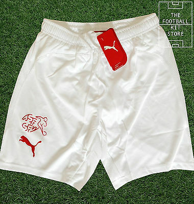 Switzerland Away Shorts - Official Puma Swiss Football Shorts - White - Mens