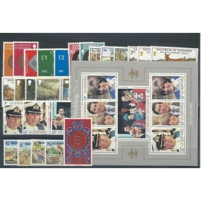 1980 - 1981 Guernsey Annate Complete 42 Val - 1 Bf Nuovi Mnh Mf3405