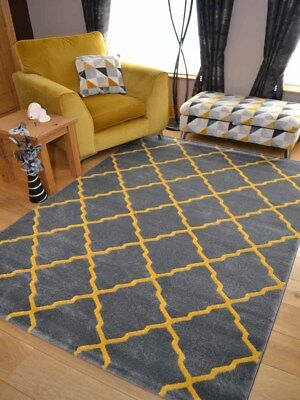 Yellow Grey Ochre Trellis Modern Small Extra Large Big Floor Carpet Rugs Cheap