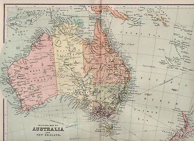 Map Of Australia and New Zealand 1898 Antique