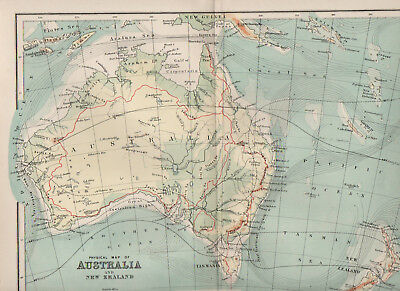 Map Of Australia and New Zealand 1898 Antique Physical