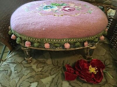 antique late 1800 french foot stool pink needlepoint w/ rose chippy shabby paint