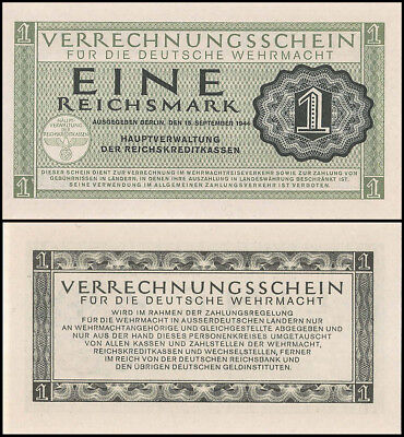 Germany 1 Reichsmark Banknote, 1944, P-M38, UNC, Military Payment Certificate
