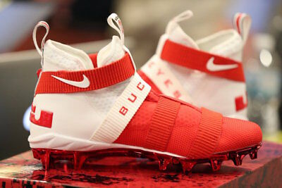 1e089688d42c Nike Lebron Soldier 11 TD Cleat Ohio State Buckeyes Men s Size 10.5 Rare  White