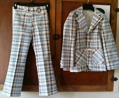 "VINTAGE 70's size 9/10 plaid Suit  8"" bell bottom peach navy RING BEARER WEDDING"