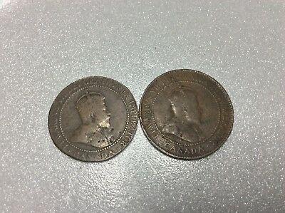 Two 1907 Canada One 1 Cent Penny Large Copper Circulated Canadian Coin