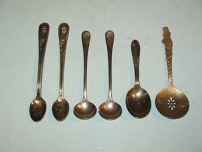 lot of 6 vintage SILVER PLATED SPOONS ~ GERBER, PLANTERS, KING EDWARD