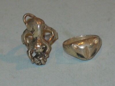 """2~vintage 925 STERLING SILVER CAT """"KITTY CAT"""" RINGS ~ SIZE 6 ~"""
