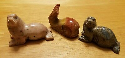 2 Sea Lion 1 Whale Solid Stone Hand Carved from Andes Miniature Multi Hued
