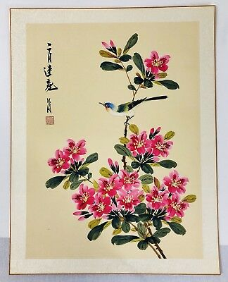 Vintage Original Asian Japanese Silk Painting - Blue Bird Pink Blossoms Signed