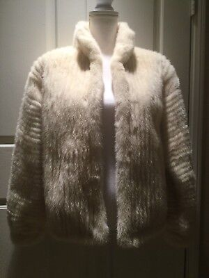 Vintage Bonwit Teller Mink Fur Jacket Coat White Off-White Color Near Mint Cond!