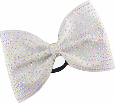 Sparkle Bows Cheer Galaxy Rhinestone White AB Glitter Tailless Cheer Bow