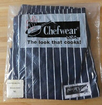 Chefwear Men's Baggy Cotton Striped Chef Pants Black/white Xl