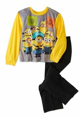 New Despicable Me 3 Boys Flannel Sleepwear Set Pajamas Minions Size 8