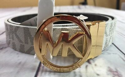 Michael Kors Large Women's Signature Reversible Circle MK Logo Belt NWT