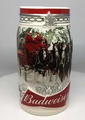 CHIPPED 2017 Budweiser Holiday Stein Christmas Beer Mug 38th in Annual Series