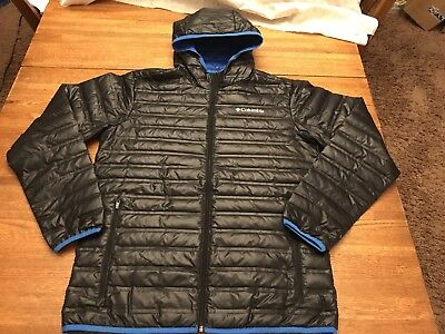 Columbia Insulated- 650 Power Fill Down Hooded Jacket Coat Mens Black sz M NICE
