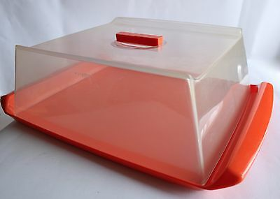 Plastic Decor Retro Orange Cake serving Tray Party Tray with Clear Lid 70s