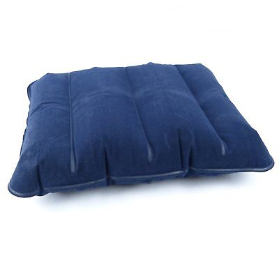 Inflatable Flocked Pillow Camping Cushion Travel Soft Blow-Up Head Rest Blue