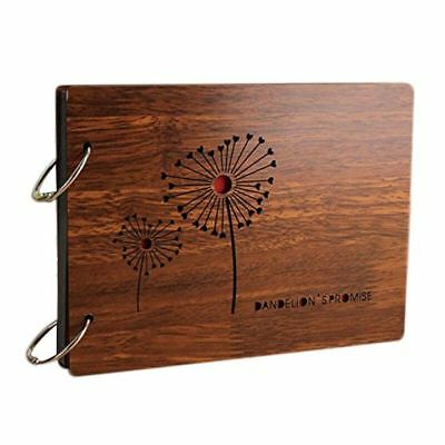 DIY Photo Album Wood Cover Anniversary Scrapbook 8 X 6 inches Self-adhesive D3A7