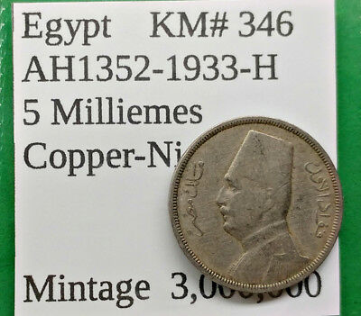 World Foreign Old Egypt 1933-H Coin 5 Milliemes AH1352 KM# 346 !!