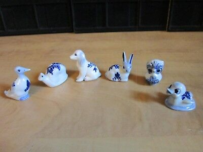 "Vintage Delft Miniature Cobalt Blue White  Animals Lot of 6 New in Box 1.5""-2"""