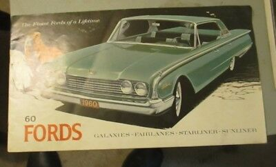 1960 ford galaxies fairlanes starliner sunliner sales brochere excellent conditi