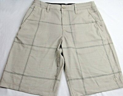 "2c6586bc578af New Hang Ten Mens Khaki Plaid Swim Trunks Quick Dry Shorts 32 "" 4 Pockets -"