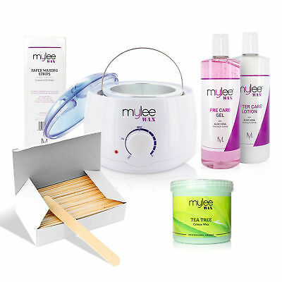 Mylee Complete Waxing Kit Heater Wax Pot Strips Spatulas Pre After Hair Removal