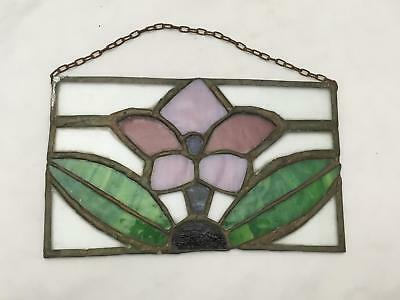 """Vintage """"Stained"""" or Leaded Glass Window Decoration / Wall Hanging FLOWER"""