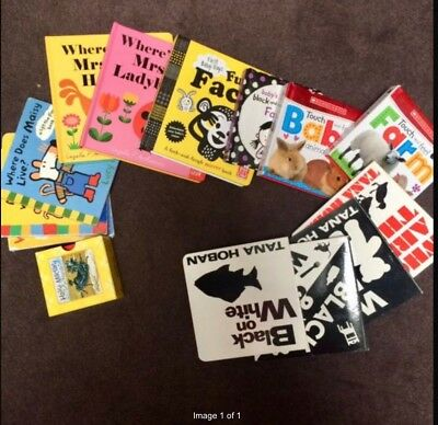 0-6 month old fun books- black and white to help tummy time