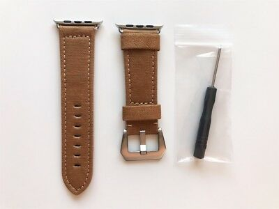 Apple Watch Band Canvas Fabric Leather back 42mm strap Beige Series 3 2 1
