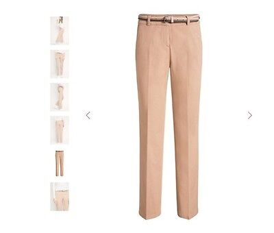 BNWT ESPRIT Stretch Cotton Trousers/Pants With Belt - Nude/Tan/Brown Size 4