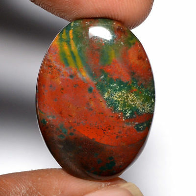 Cts. 32.05 Natural Pretty Red Spotted Bloodstone Cabochon Oval Loose Gemstone