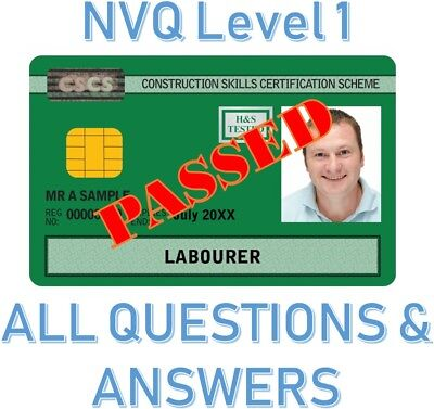 CSCS NVQ Level 1 - ALL Questions And Answers! INSTANTLY!
