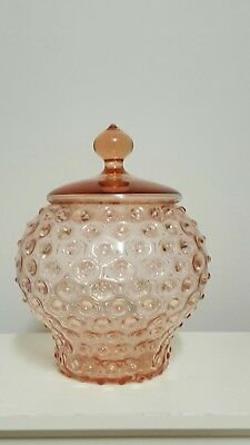 Pink Hobnail Lolly Canister Apothecary Jar Empoli Genie Bottle