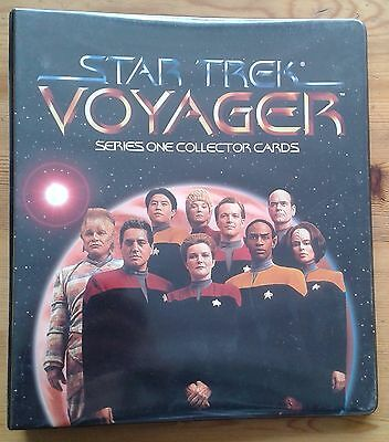Star Trek Voyager Series One 1 Collector Cards binder w. base set & T1 trading