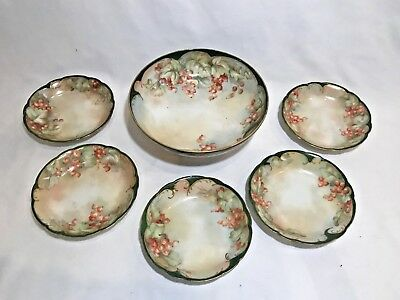 Beautiful Antique Six Piece Limoges Hand Painted China Set - Signed
