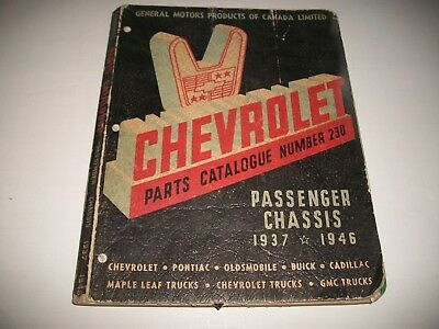 1937-1946 Chevrolet Passenger Car Chassis Parts Catalog Brakes Cooling Engine