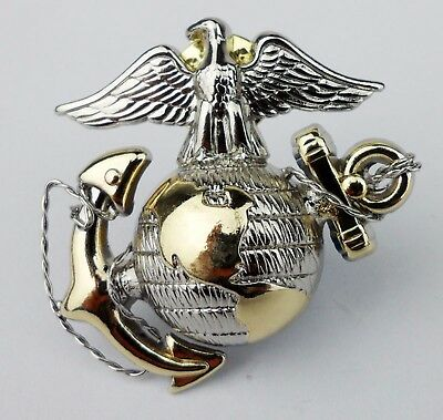US Marine Corps officer Dress Cap Badge Pin Insignia USMC CAP BADGE Gold/Silver