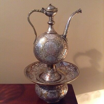 Cairoware Ewer And Basin. Silver, Copper, Brass