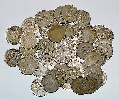 MEXICO lot UNSEARCHED 10 CENTAVOS vintage large world foreign snake 5 coins