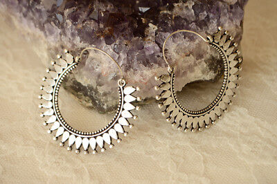 Dotted medium size tribal silver earrings. Drop ethnic hoops silver. Solid brass